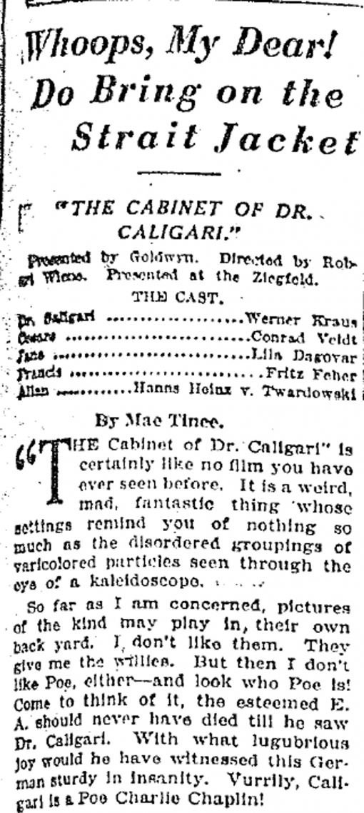 Halloween Post #2: The Chicago Tribune Reviews The Cabinet of Dr ...